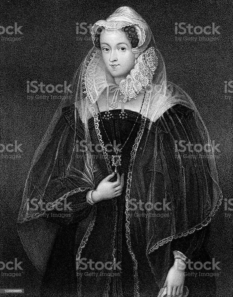 Mary, Queen of Scots circa 1580 vector art illustration