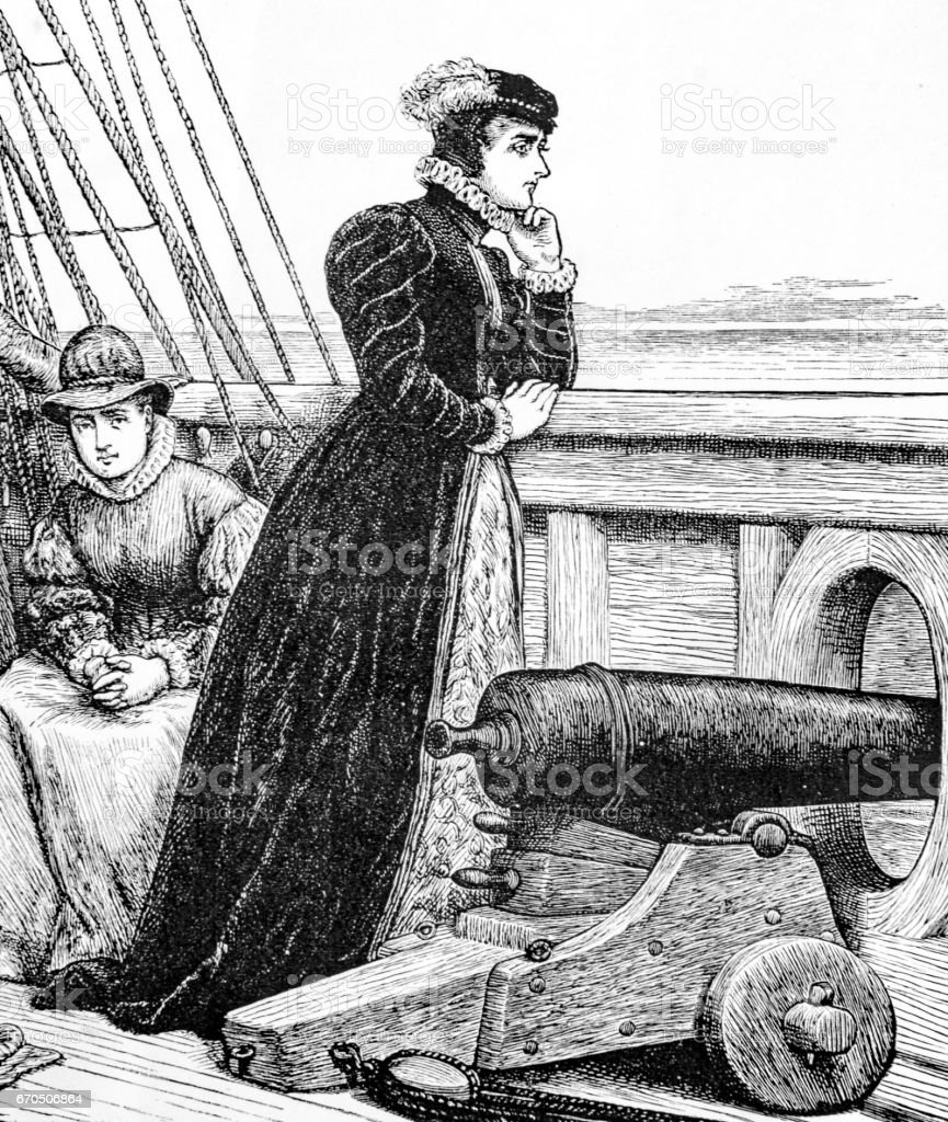 Mary Queen of Scots on a ship vector art illustration