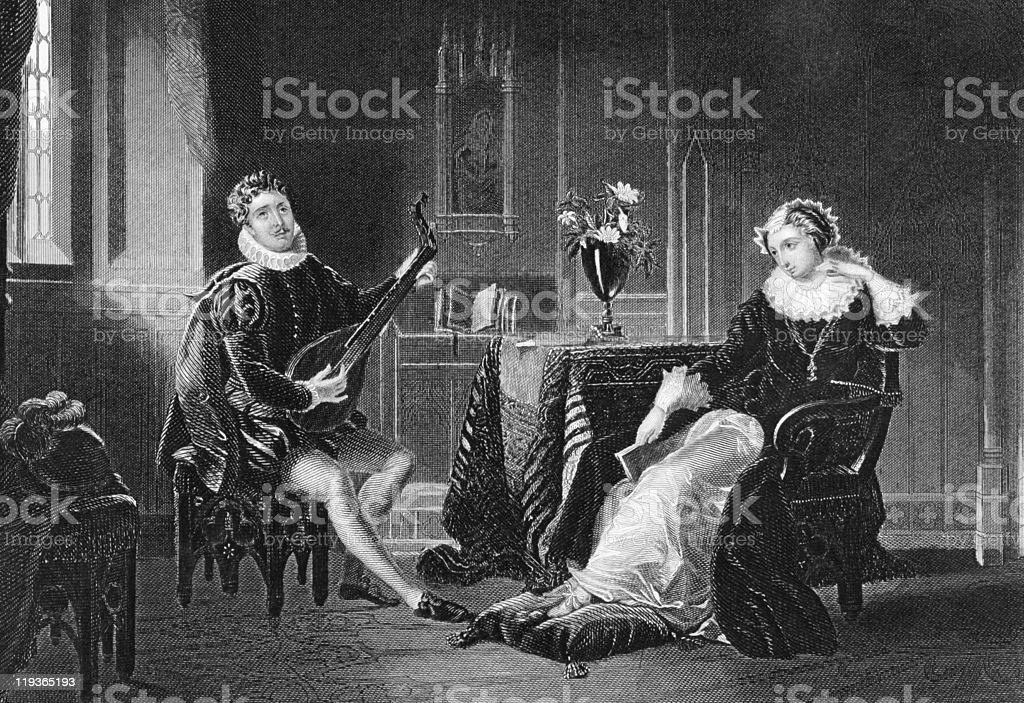 Mary Stuart and Chatelar romance scene vector art illustration