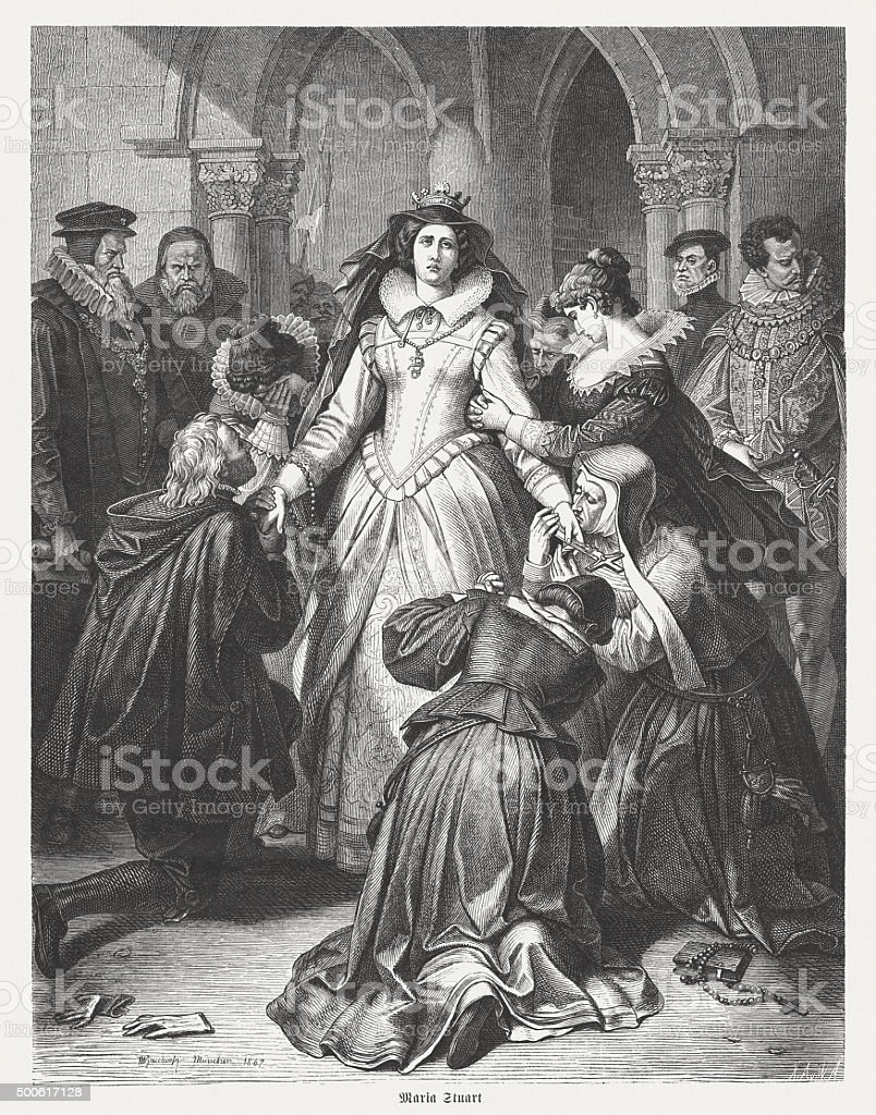 Mary Stuart before their execution, published in 1875 vector art illustration