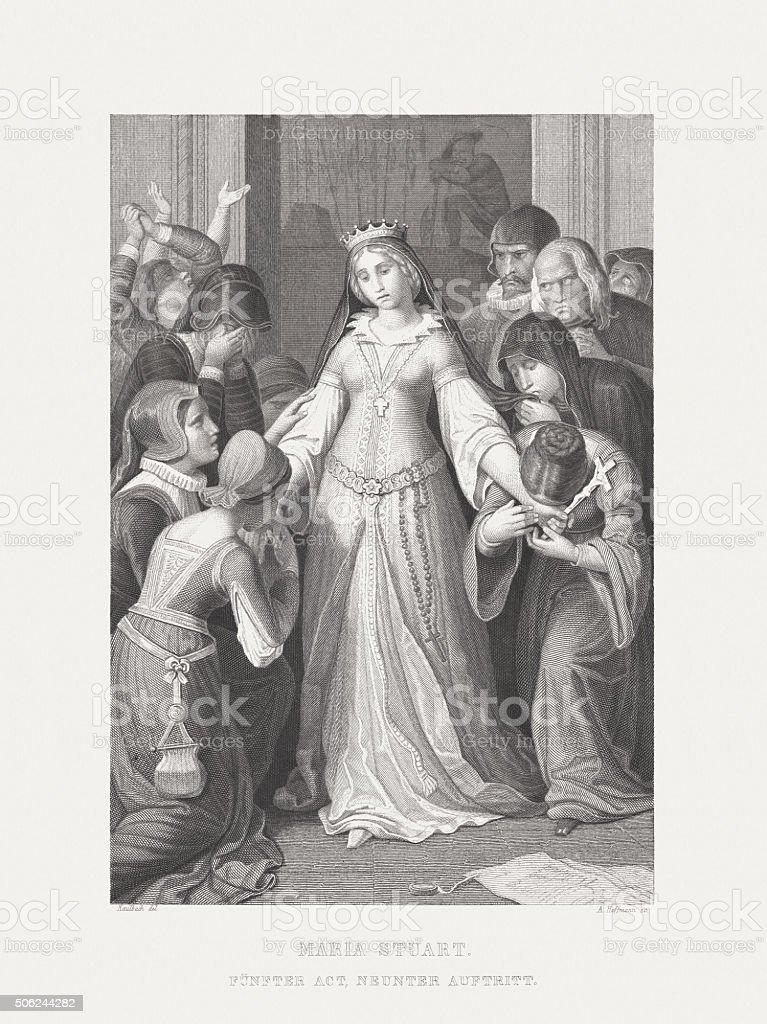 Mary Stuart by Friedrich Schiller, steel engraving, published 1869 vector art illustration