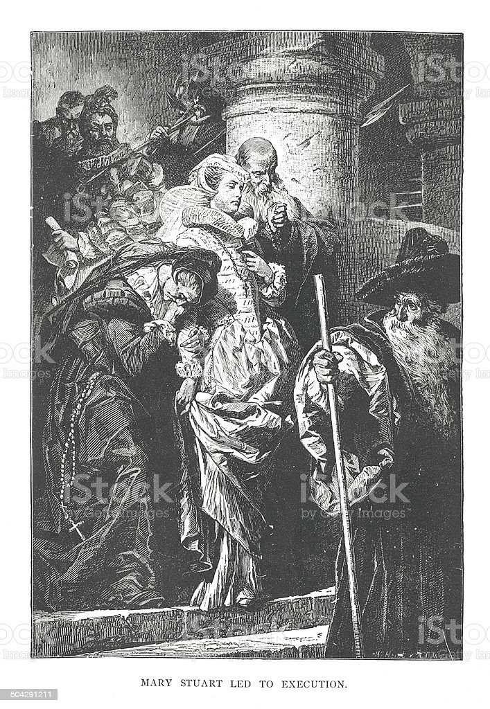 Mary Stuart led to execution (antique engraving) vector art illustration