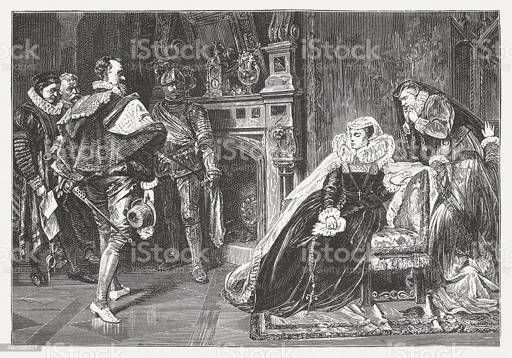 Mary Stuart (1542-1587) receives the death sentence, by Piloty vector art illustration