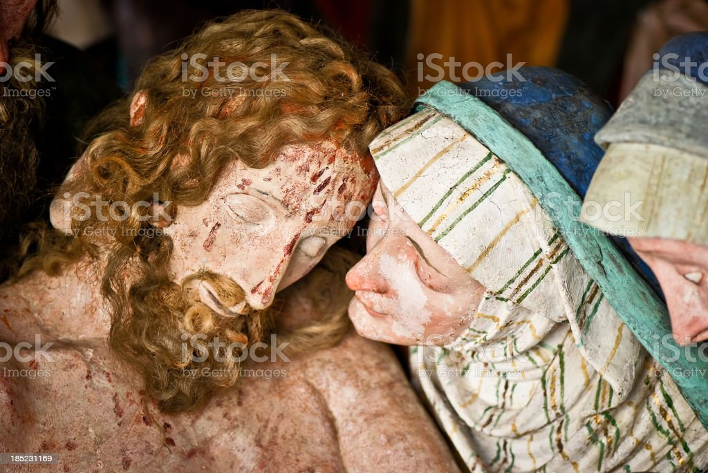 Mary with the dead body of Jesus after crucifixion vector art illustration