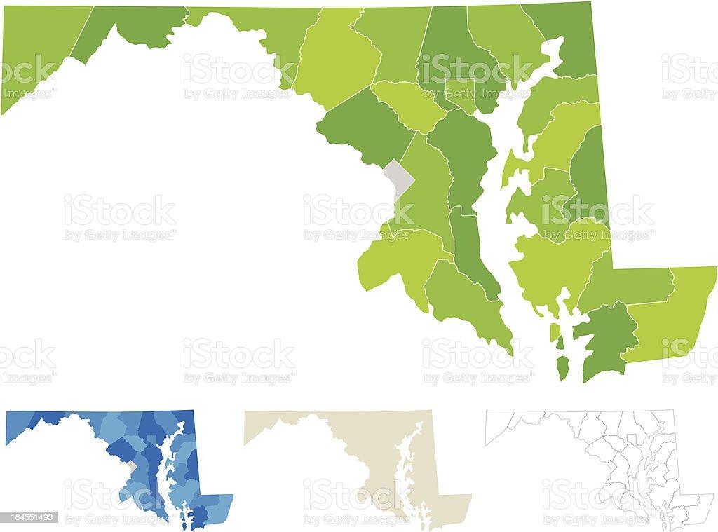 Maryland County Map vector art illustration