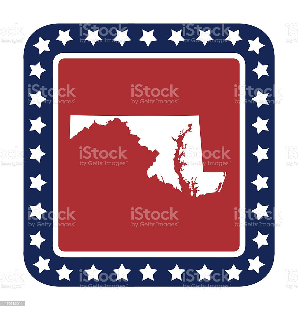 Maryland state button vector art illustration