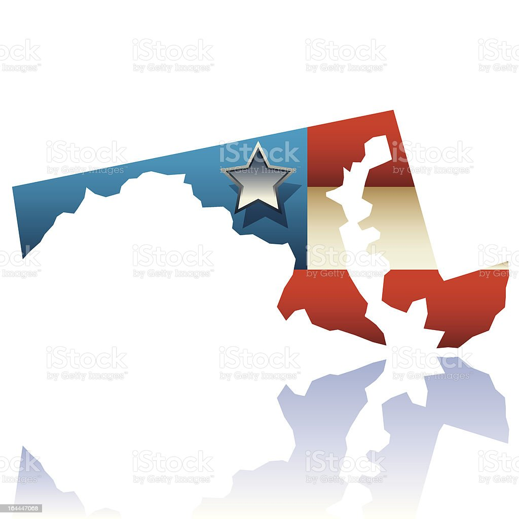Maryland state map vector art illustration