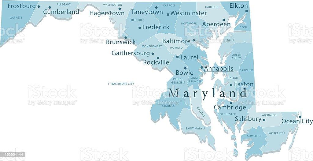 Maryland Vector Map Regions Isolated vector art illustration