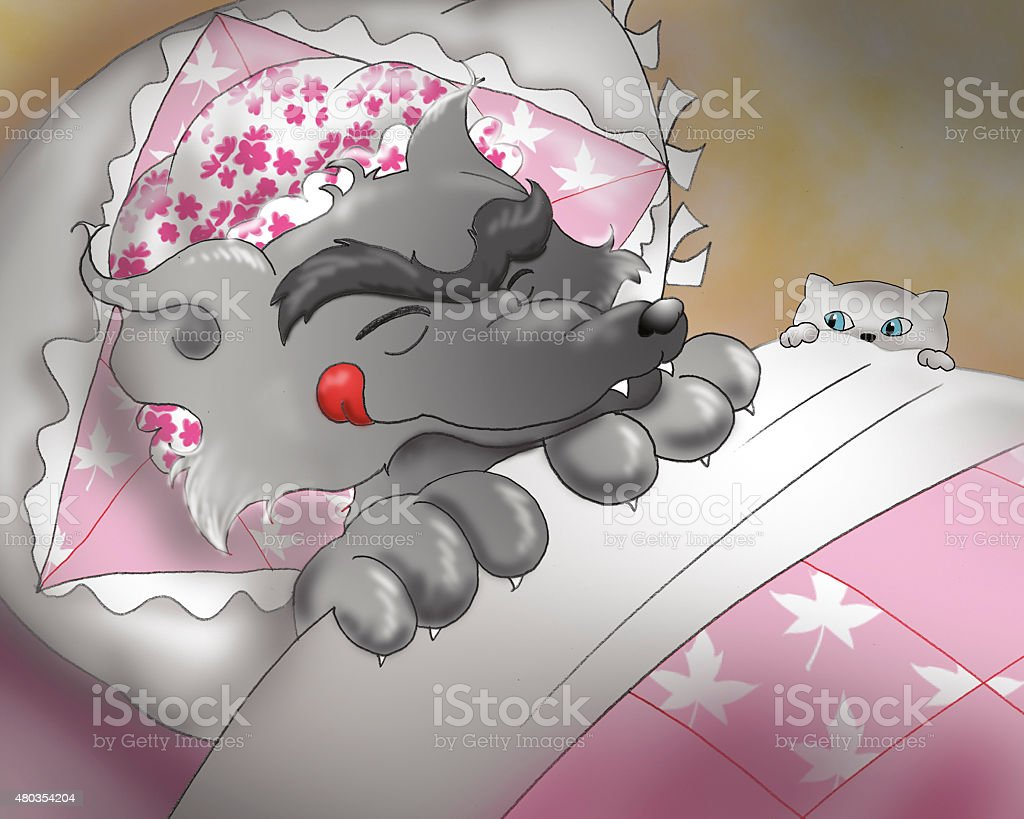 Masked wolf in granny's bed vector art illustration
