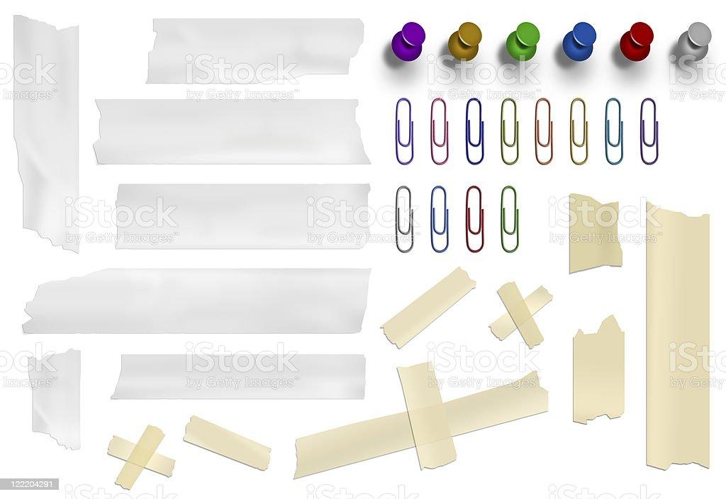 masking tape and thumbtacks royalty-free stock vector art