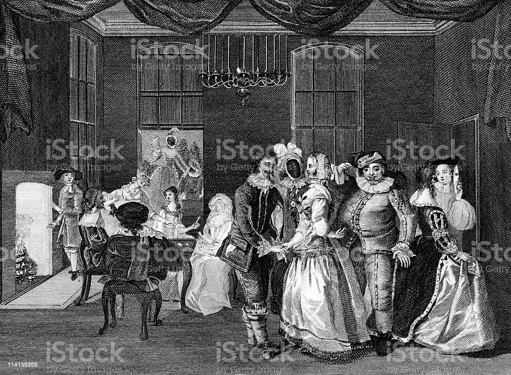 Masquerade Party at Somerset House in 18th Century England royalty-free stock vector art