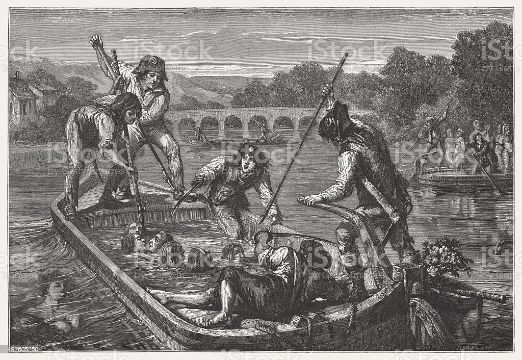 Mass drowning, French Revolution, published in 1871 vector art illustration