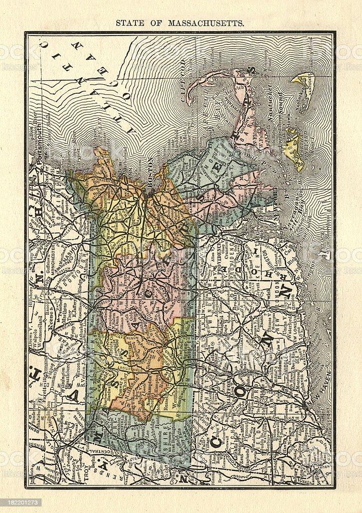 Massachusets   USA Antique Maps High Resolution royalty-free stock vector art