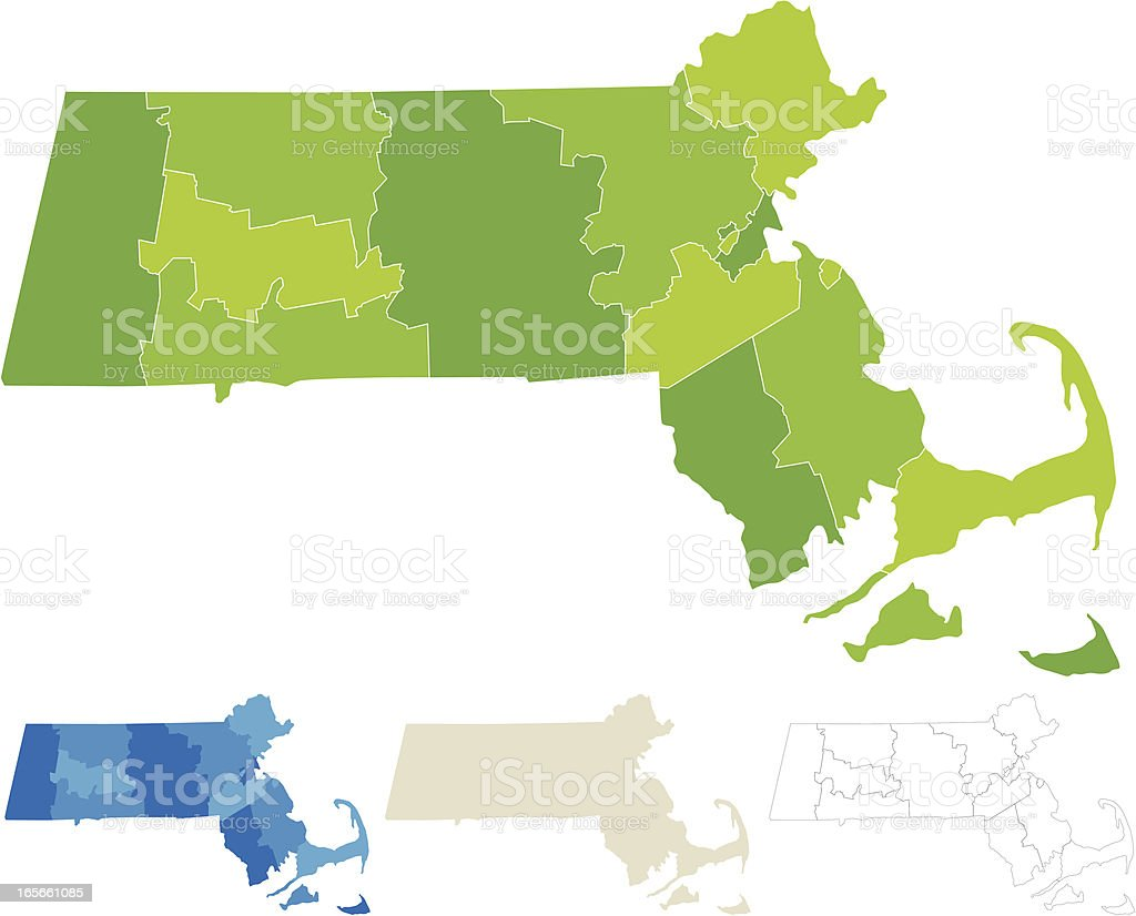 Massachusetts County Map vector art illustration