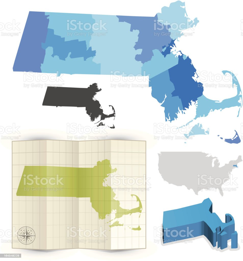Massachusetts state map royalty-free stock vector art