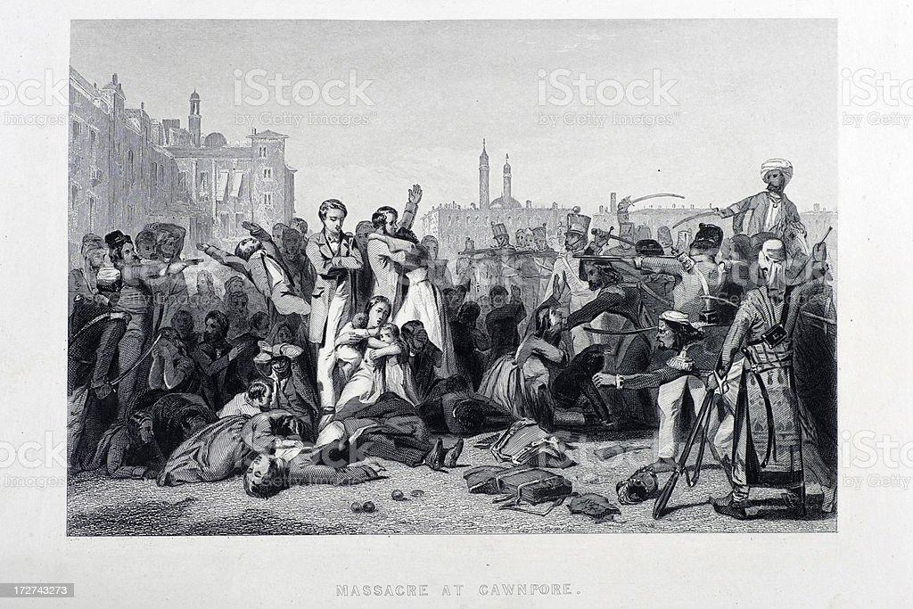 Massacre at Cawnpore vector art illustration