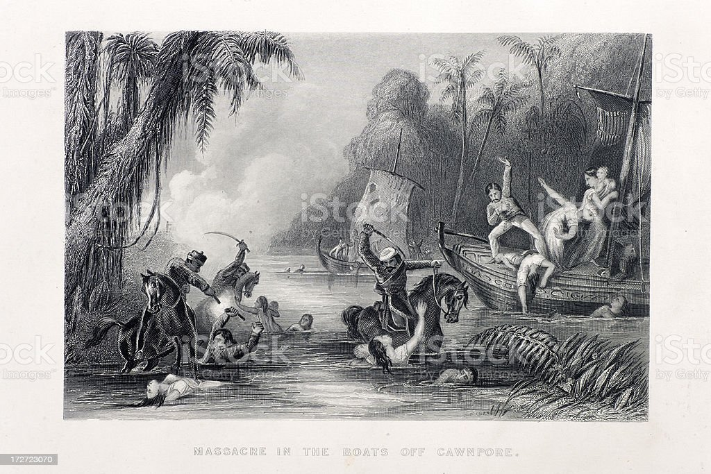 Massacre in the boats off Cawnpore. royalty-free stock vector art