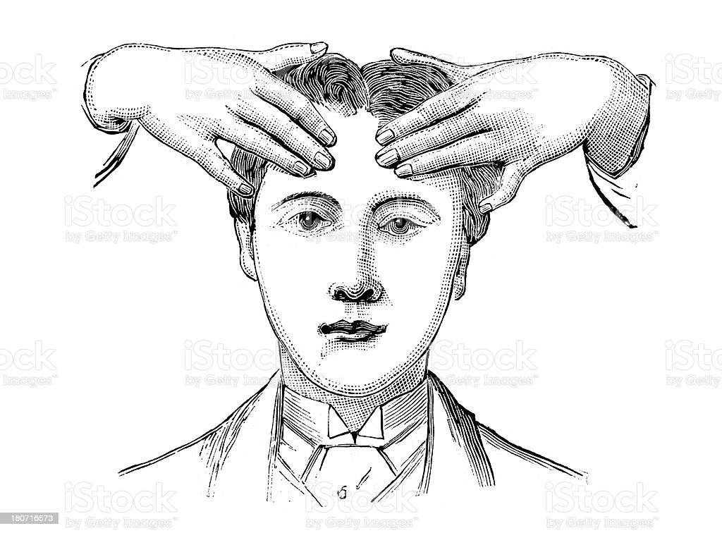 Massaging the Head vector art illustration