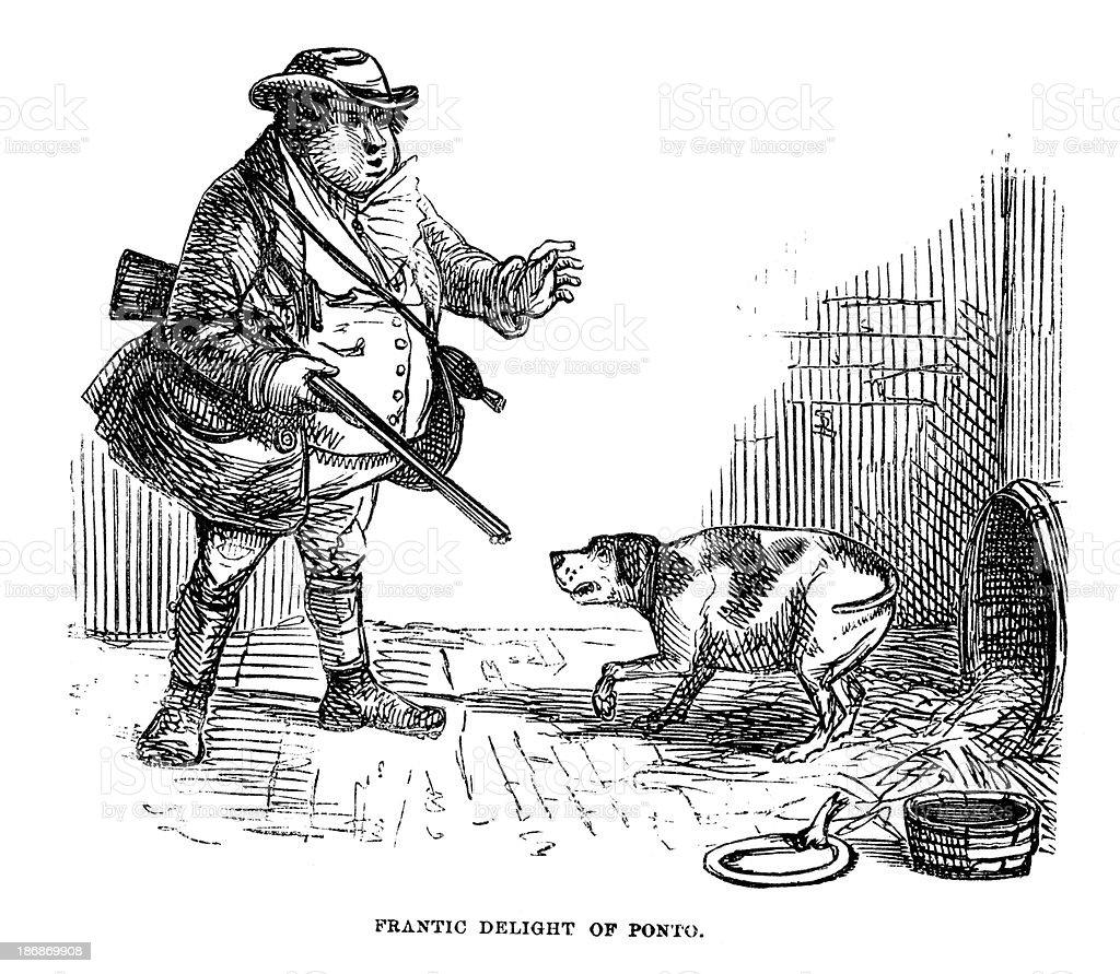 Master and Dog royalty-free stock vector art