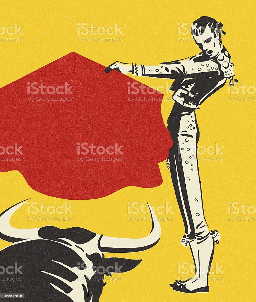 Matador and a Bull royalty-free stock vector art