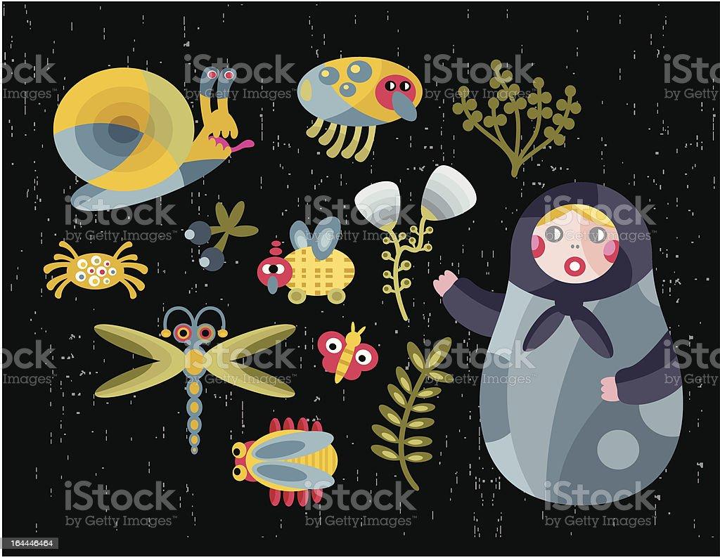 Matreshka doll and insects. royalty-free stock vector art