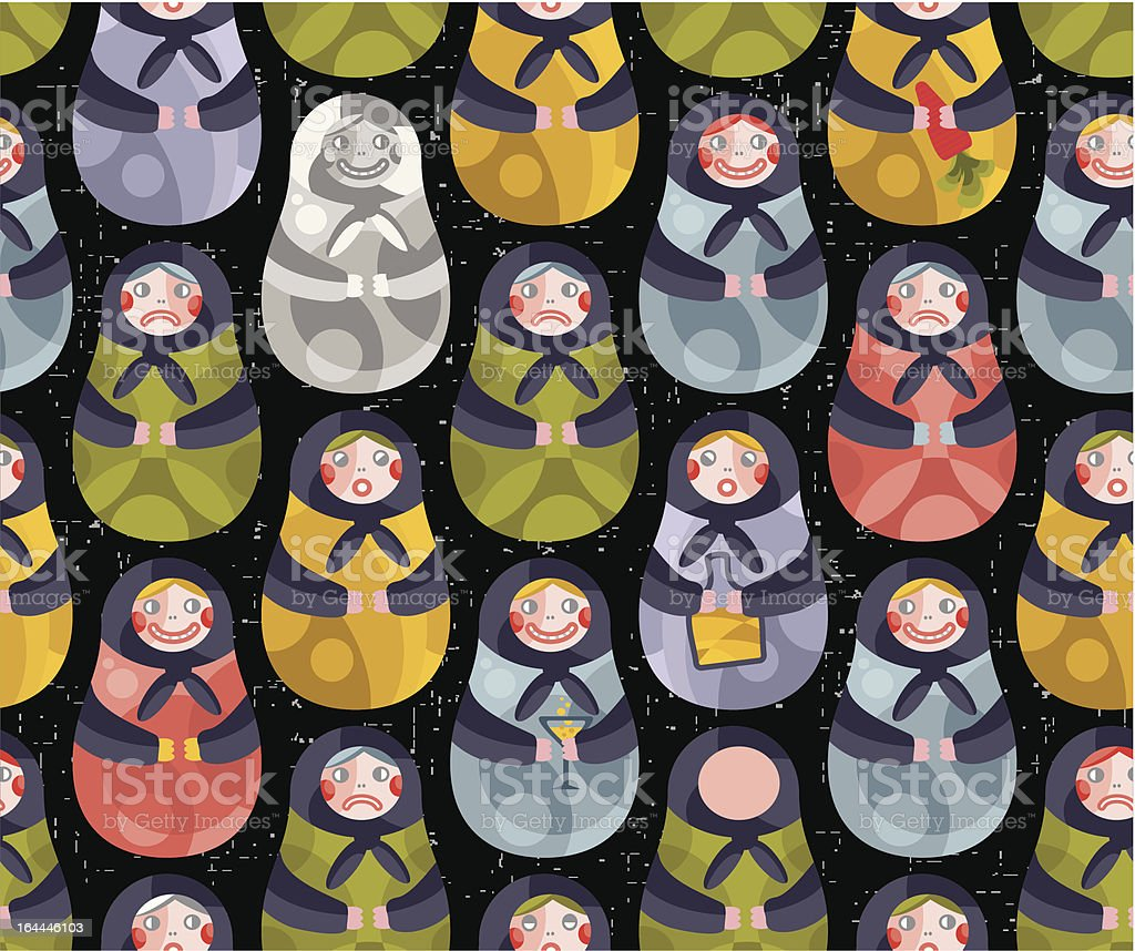 Matreshka russian doll seamless pattern. royalty-free stock vector art
