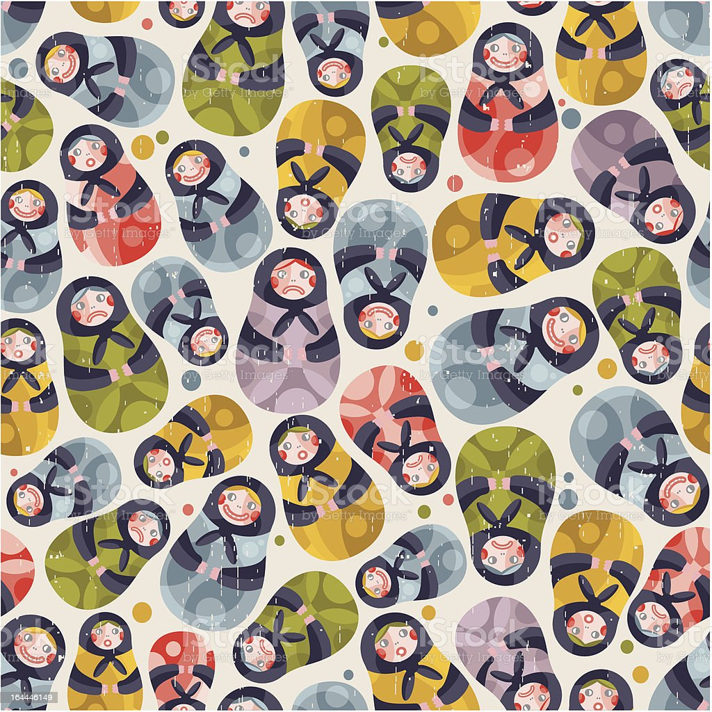 Matreshka toy seamless pattern. royalty-free stock vector art