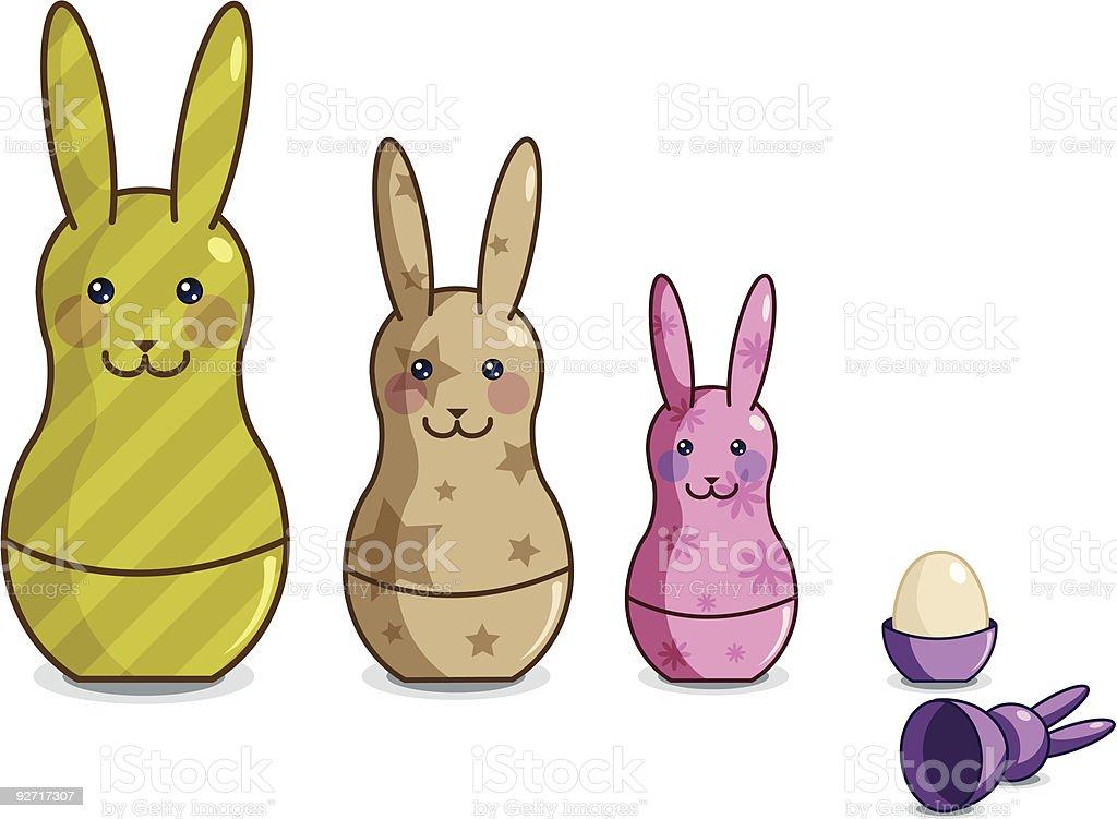 Matrioska easter bunnies royalty-free stock vector art