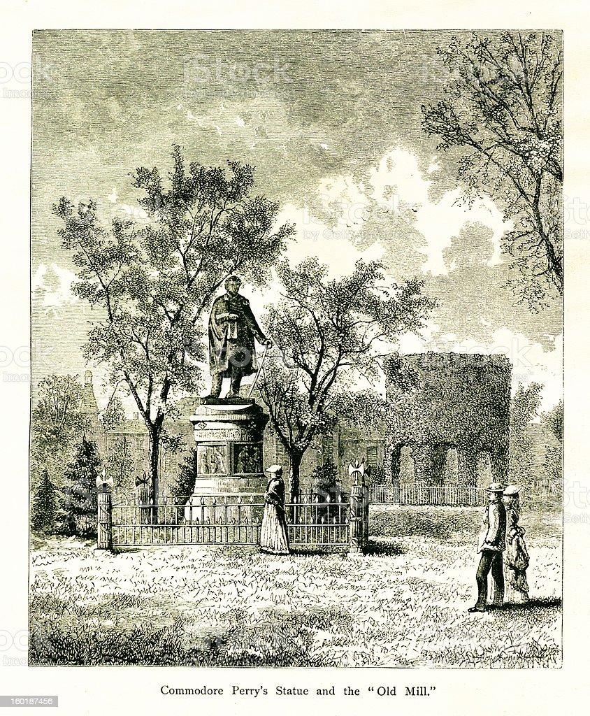 Matthew Perry Monument, Newport, Rhode Island royalty-free stock vector art