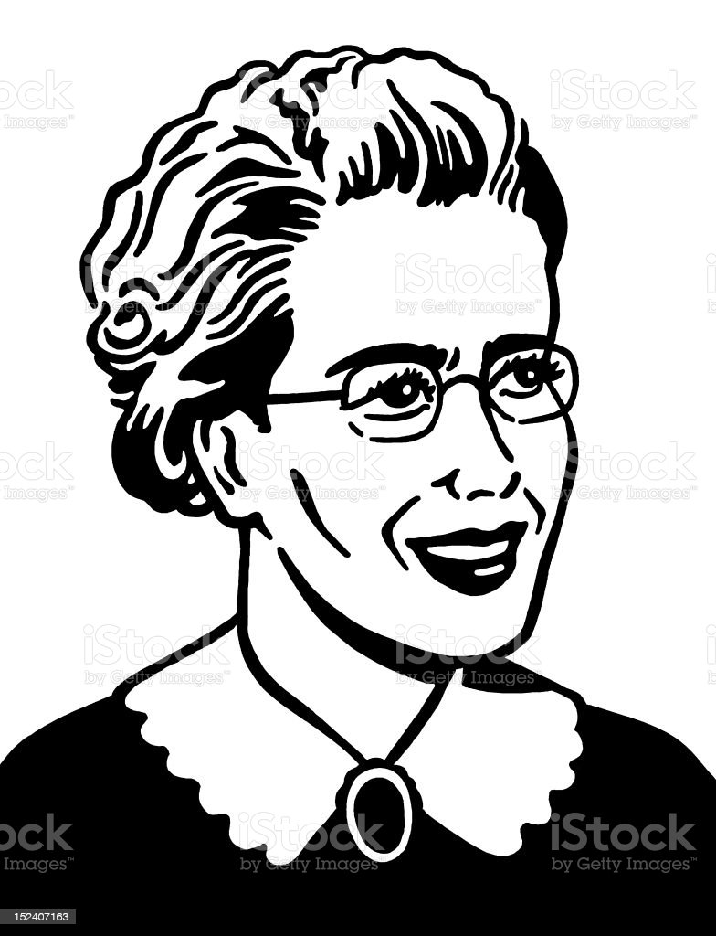 Mature Woman Wearing Glasses royalty-free stock vector art