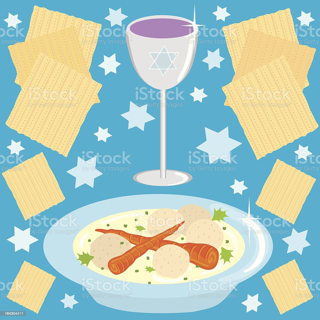 Matzo Ball Soup and kosher wine royalty-free stock vector art