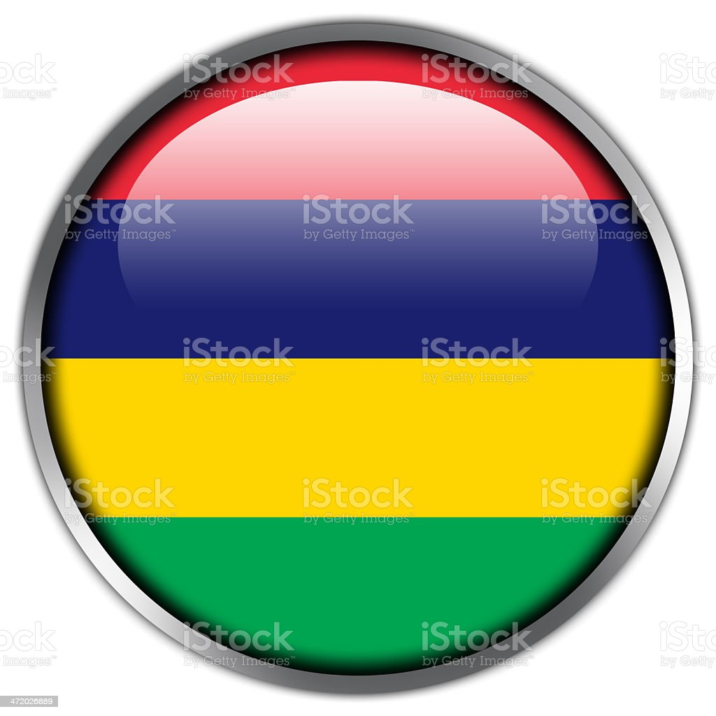 Mauritius Flag glossy button royalty-free stock vector art