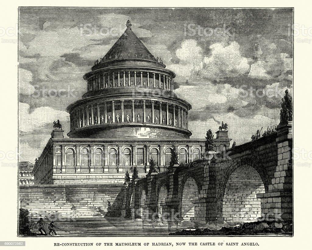 Mausoleum of Hadrian, Castel Sant'Angelo, Rome vector art illustration
