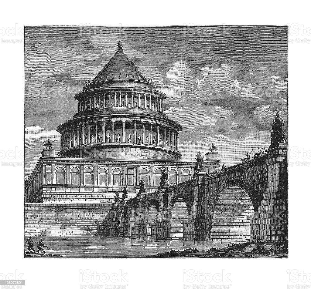 Mausoleum of Hadrian (antique engraving) vector art illustration