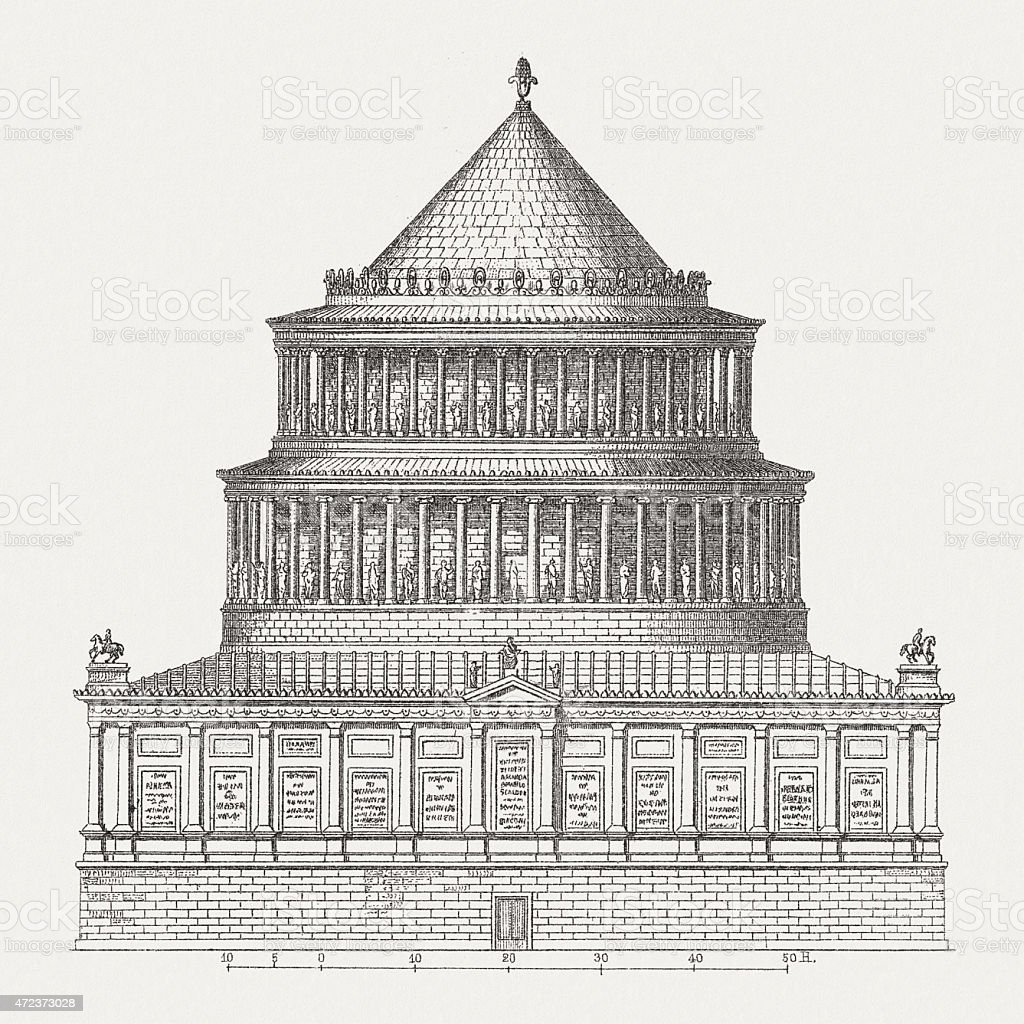 Mausoleum of Hadrian (76-138 AD), wood engraving, published in 1874 vector art illustration