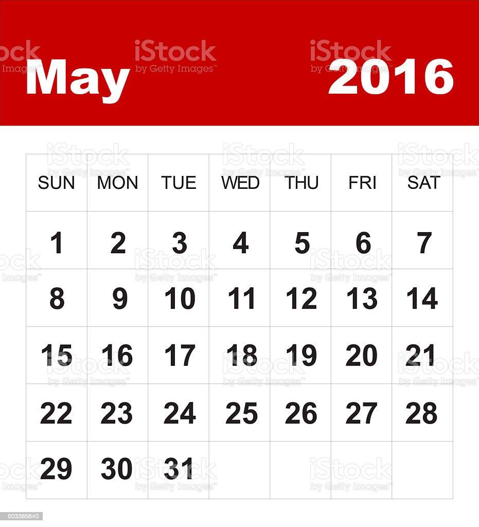 May 2016 calendar vector art illustration