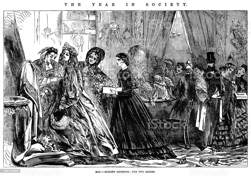 May - Society bridal shopping vector art illustration