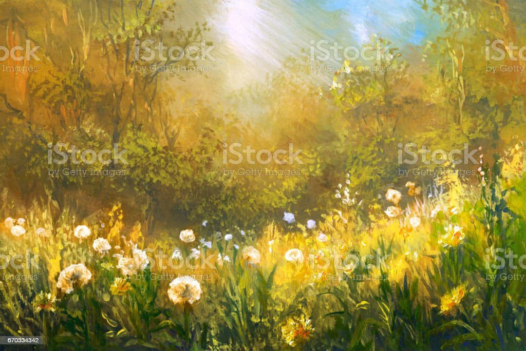 Meadow of dandelions, oil painting vector art illustration