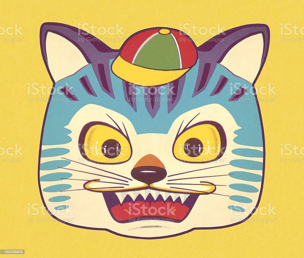 Mean Cat Wearing Hat vector art illustration