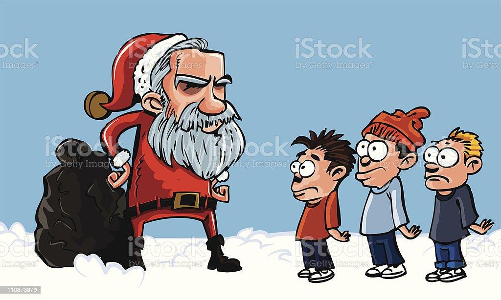 Mean Santa scowling at three kids royalty-free stock vector art