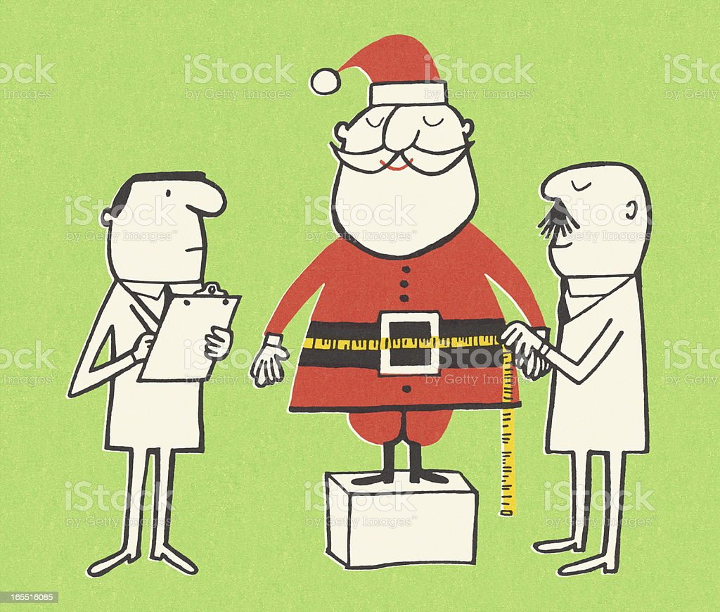 Measuring Santa Claus royalty-free stock vector art