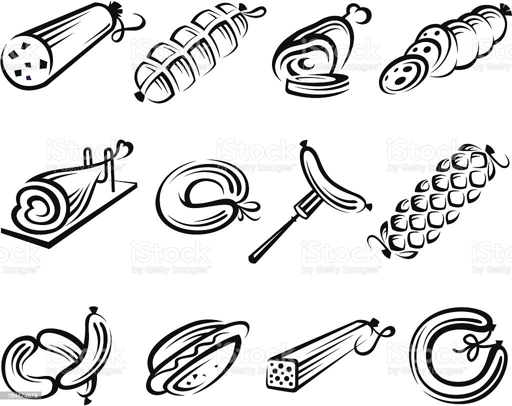 meat set vector art illustration