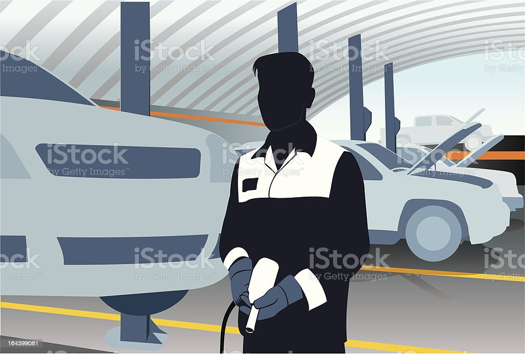 Mechanic with pneumatic gun royalty-free stock vector art