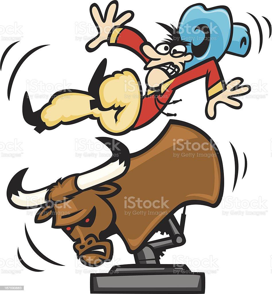 mechanical bull vector art illustration
