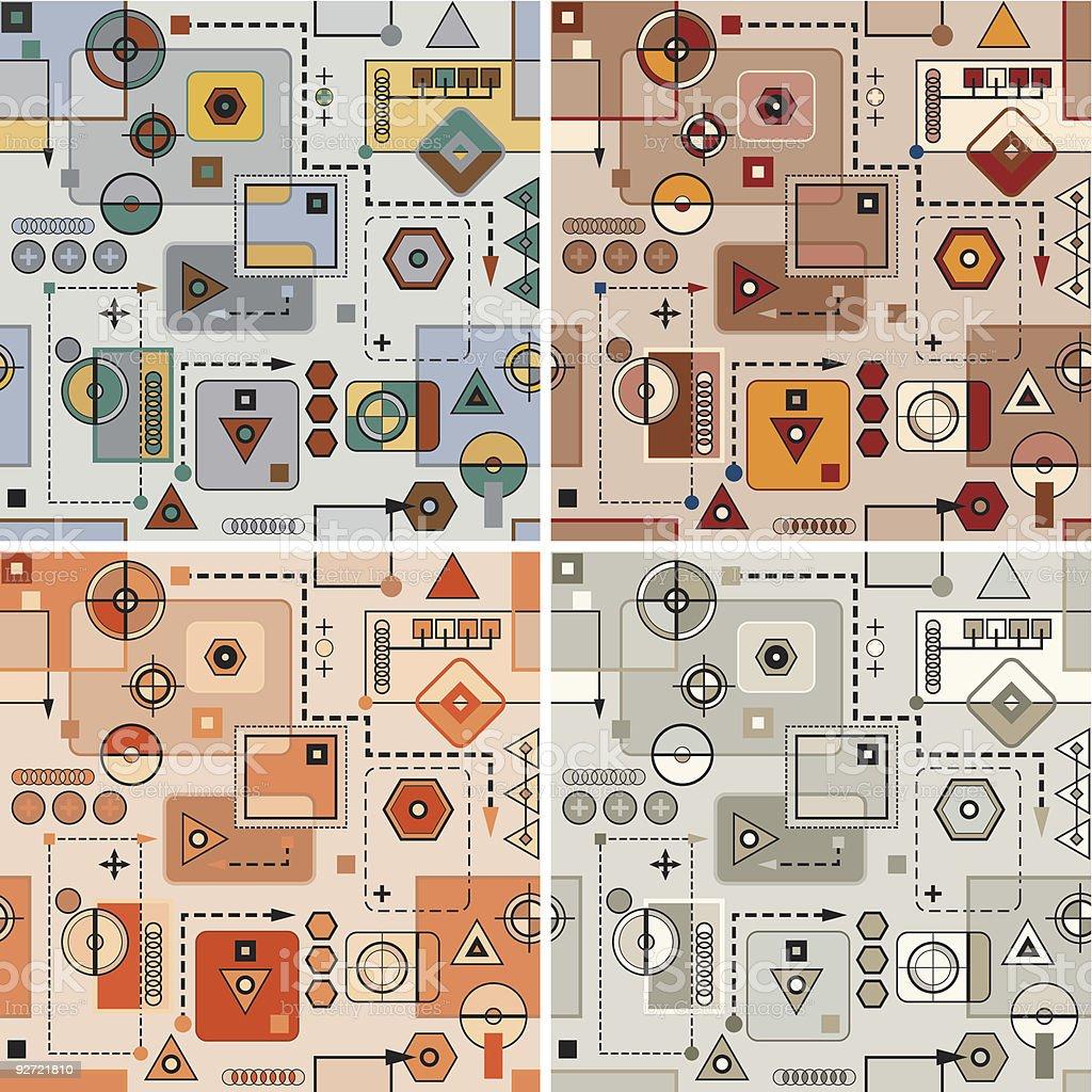 Mechanical pattern set royalty-free stock vector art