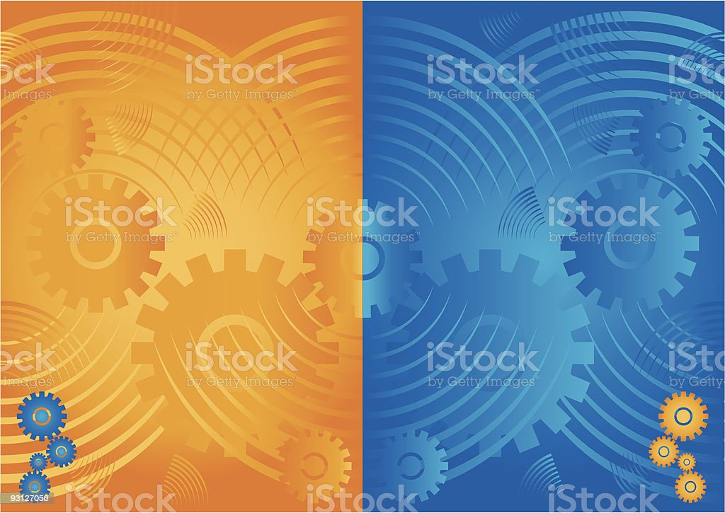 Mechanics backgrounds orange and blue. royalty-free stock vector art
