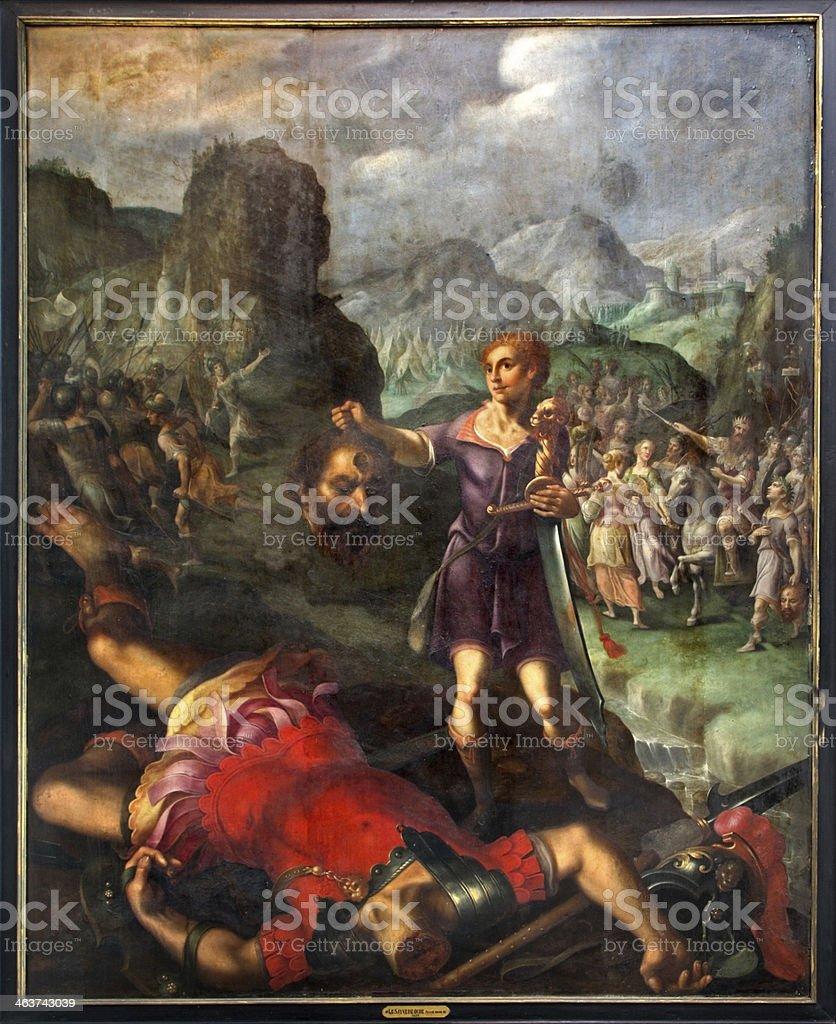 Mechelen - David and Goliath scene. vector art illustration