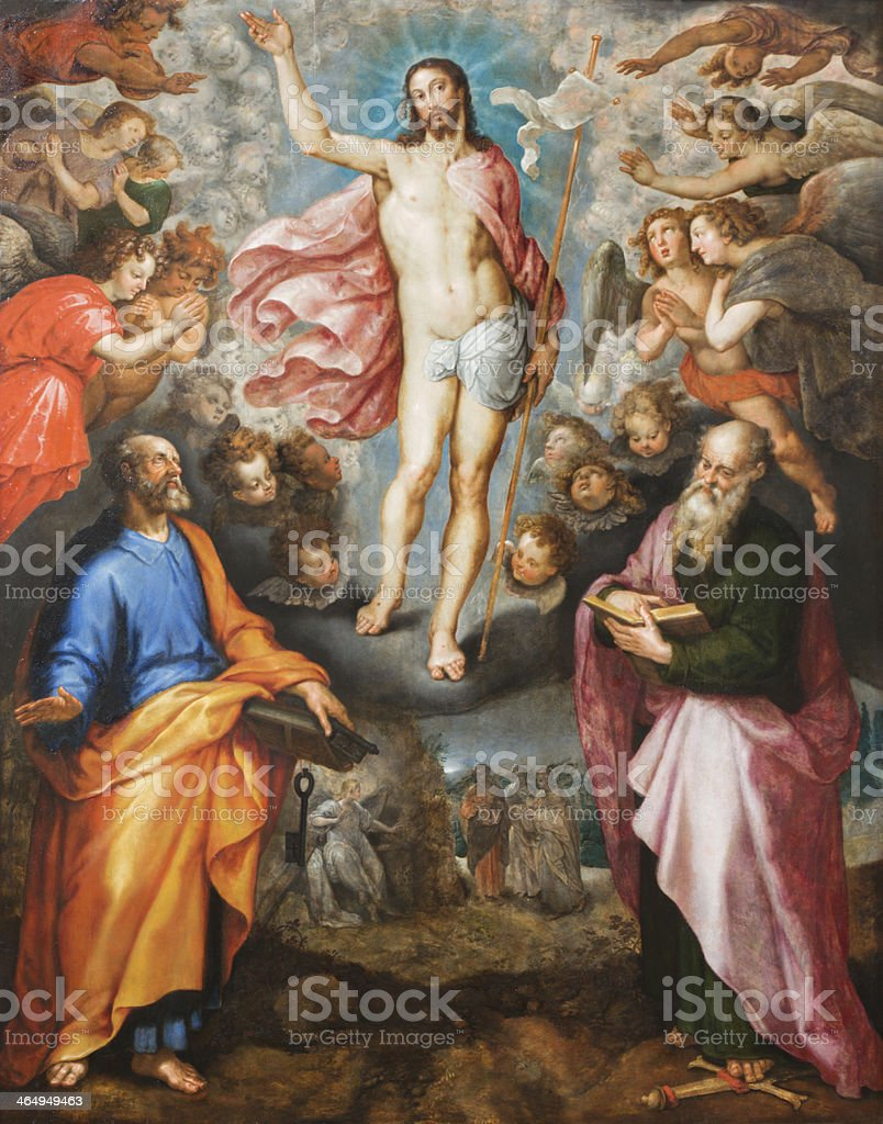 Mechelen - Resurrection of Christ from cathedral vector art illustration