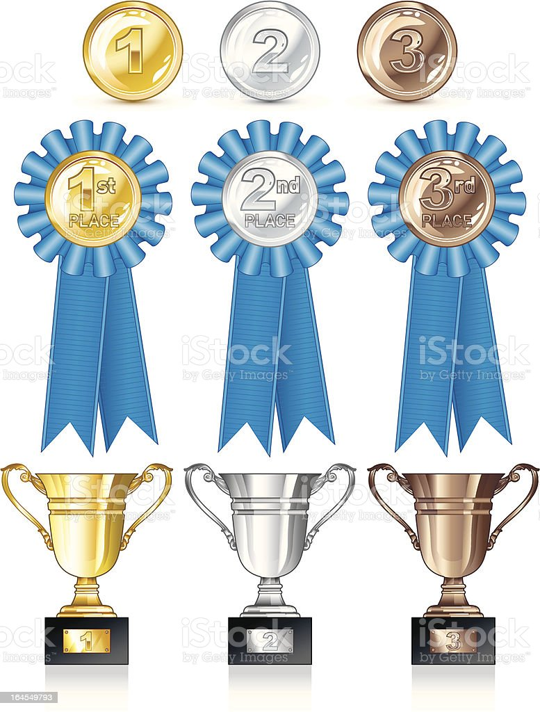 Medal and trophy collection royalty-free stock vector art