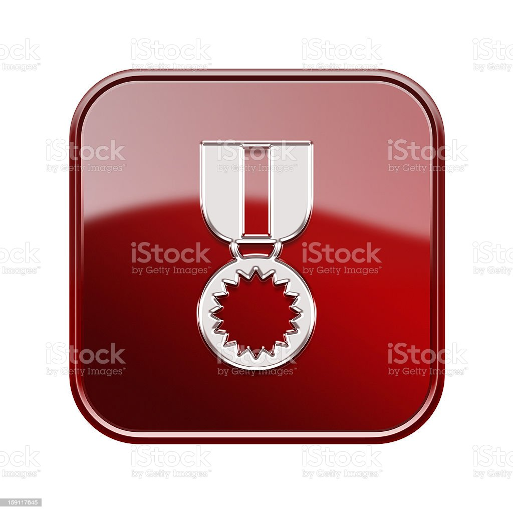 medal icon glossy red, isolated on white background. royalty-free stock vector art